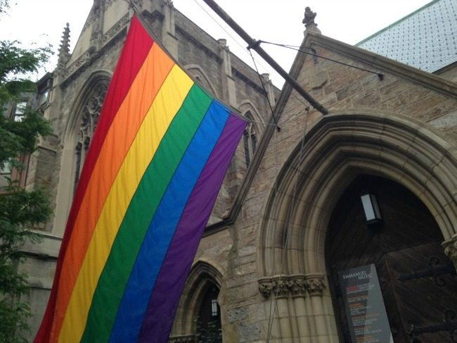 Church rainbow flag