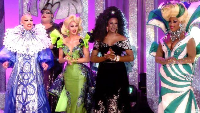 Season finale contestants from left to right: Sasha Velour, Trinity Taylor, Shea Coulee and Miss Peppermint (Photo from VH1)