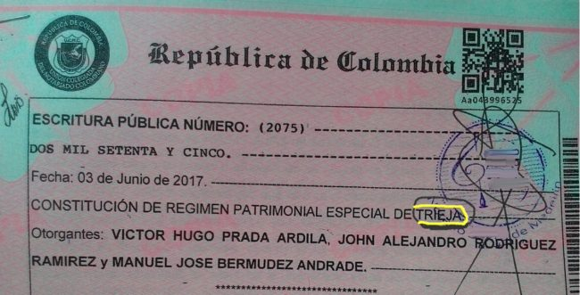 Wedding Certificate for three man weding in Colombia