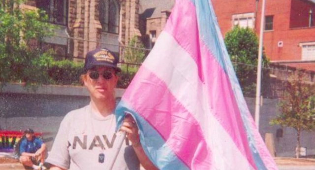 Helms with the original transgender flag (BuzzFeed/Monica Helms)