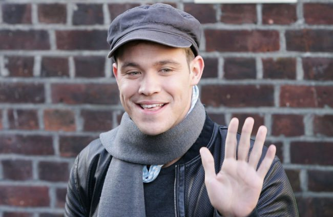 "LONDON - NOVEMBER 14: Top British musical artist Will Young arrives for the 20th anniversary remake of Midge Ure and Sir Bob Geldof's 1984 charity single ""Do They Know It's Christmas?"" at Air Studios, Hampstead on November 14, 2004 in London. (Photo by Gareth Cattermole/Getty Images)"