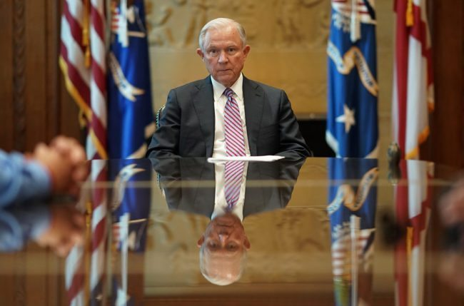 WASHINGTON, DC - JUNE 29: U.S. Attorney General Jeff Sessions meets with families of victims killed by illegal immigrants in his office at the Justice Department June 29, 2017 in Washington, DC. President Donald Trump has pledged to tighten immigration policies and the House of Representatives is in the process of voting on legislation with the same goal. (Photo by Win McNamee/Getty Images)