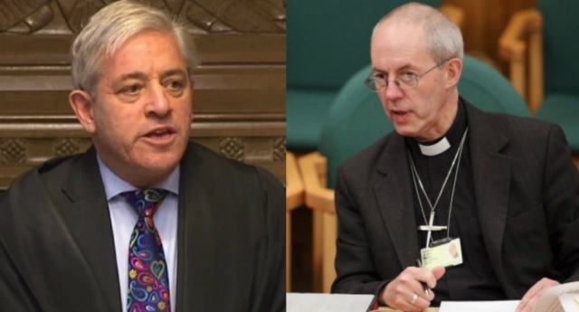 Speaker John Bercow (L) Archbishop of Canterbury Justin Welby (R)