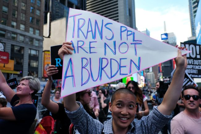 Protesters of the trans military ban