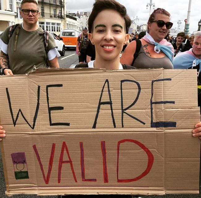 """""""We are valid"""" sign at Trans Pride"""
