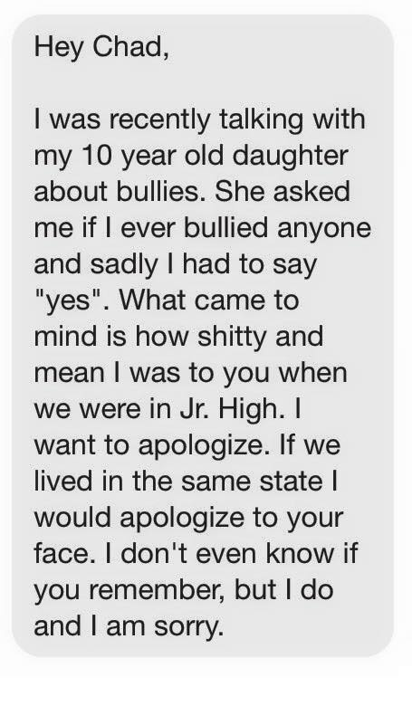 Facebook message from Chad's bully