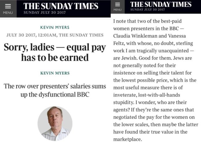 Kevin Myers in the Sunday Times