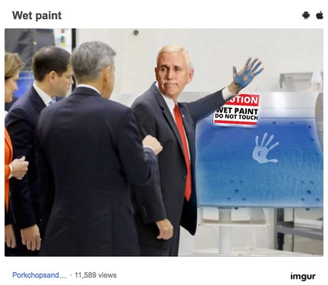 pence meme8 mike pence ignored a 'do not touch' sign and it's our new