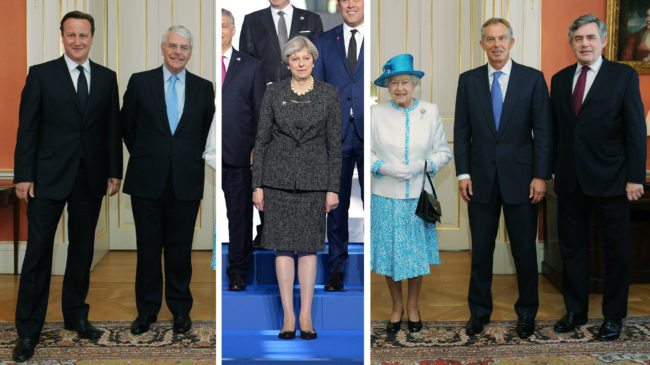 David Cameron, John Major, Theresa May, Queen Elizabeth II, Tony Blair, Gordon Brown