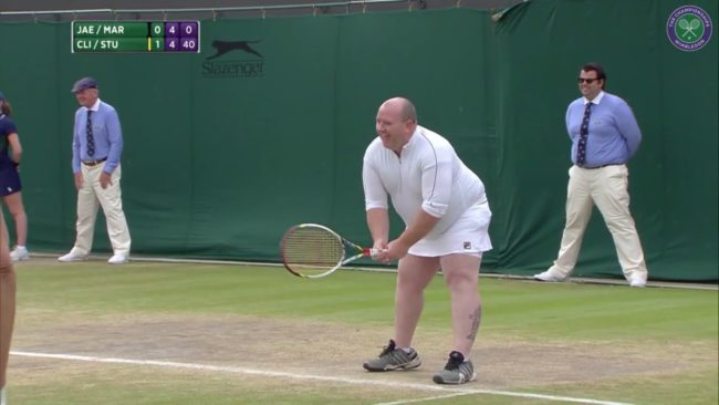 Random Wimbledon fan had everyone laughing after he pulled on white skirt to play doubles
