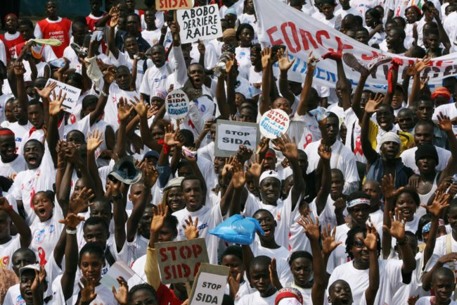 HIV-AIDS activists march in Abidjan in 2007