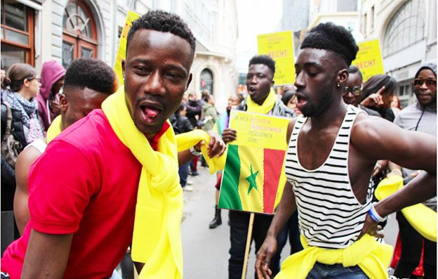 LGBT Senegalese people march in Brussels Pride in 2016