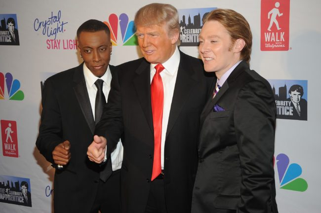 "Arsenio Hall, Donald Trump and Clay Aiken at the finale of the ""Celebrity Apprentice"""