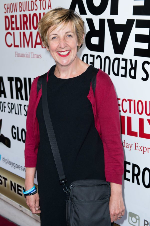 Julie Hasmondhalgh attends the opening of 'The Play That Goes Wrong' in 2015