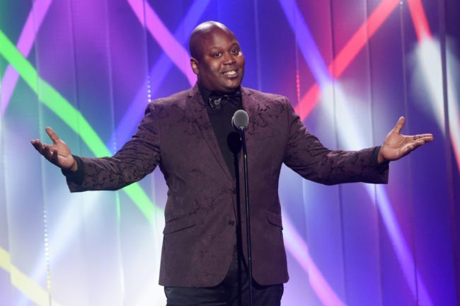 Tituss Burgess speaks onstage at the Logo's 2017 Trailblazer Honours.