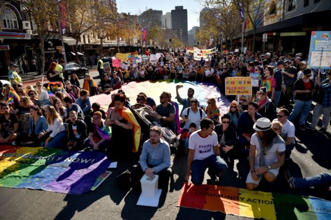 same-sex marriage rally in Sydney, Australia