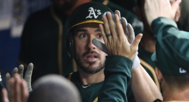 A's Matt Joyce calls fan gay slur during heated exchange