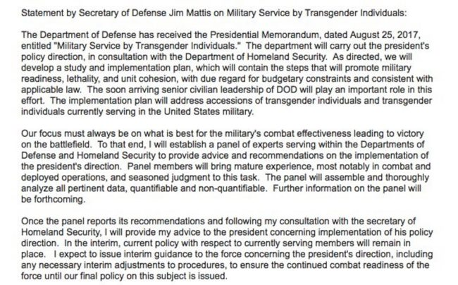 Mattis transgender ban freeze Aug 30 twitter
