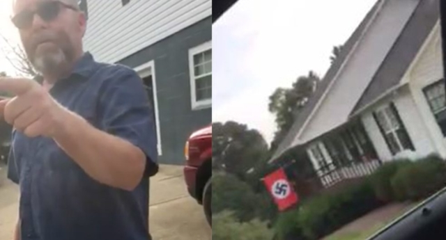 Man confronted over swastika flag: 'This is Nazi f-ing America'
