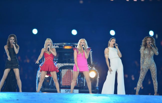The Spice Girls perform at the Olympic stadium