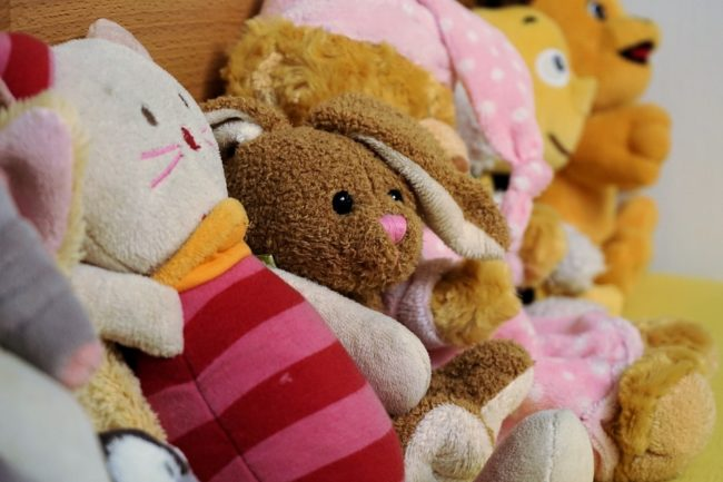 Line of stuffed toys