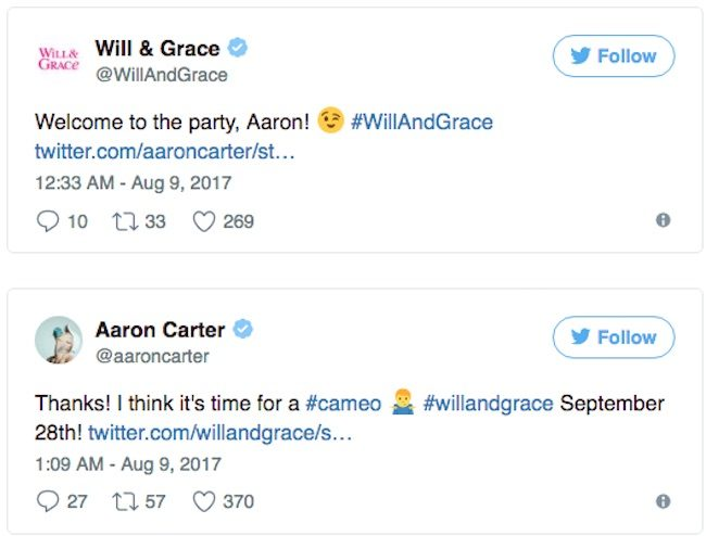 Will and Grace tweets