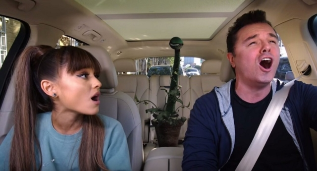 Ariana Grande sings musical number during fabulous Carpool Karaoke - and nearly crashes