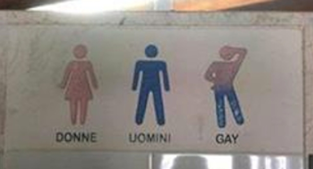 The toilet sign has caused some controversy