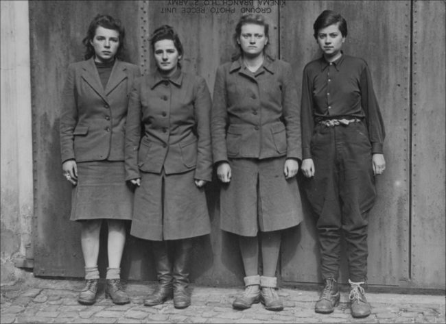 Marta Löbelt, Gertrud Rheinhold, Irene Haschke and Anneliese Kohlmann after their arrest on May 2, 1945 in Bergen-Belsen