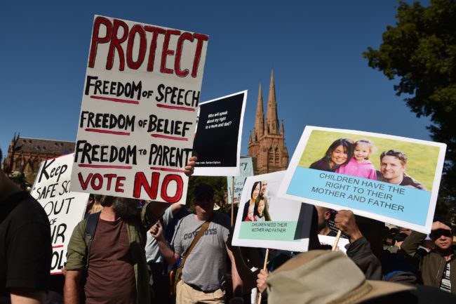 Anti-same-sex marriage protesters in Australia