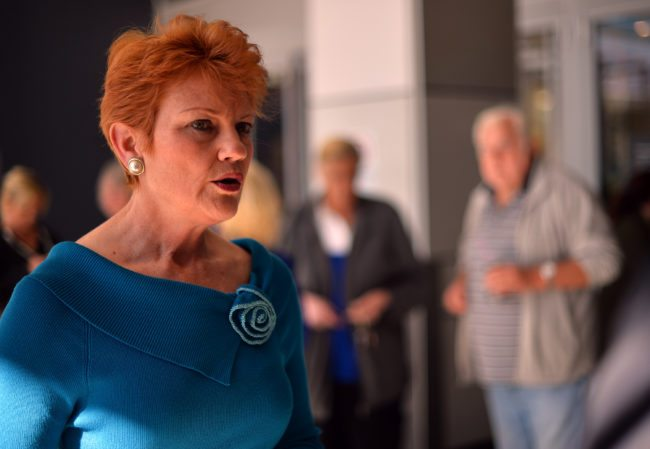 One Nation Party founder and Senate candidate Pauline Hanson (L) is pictured as she campaigns at a shopping arcade in the suburbs of Sydney on August 14, 2013. With the country's federal election set to take place on September 7, the economy is the number one issue for Australians, according to data from an interactive tool hosted by the Australian Broadcasting Corporation. Using data drawn from the first 250,000 responses and weighted to reflect the national population, it found the economy was ranked number one, with asylum-seekers a distant but clear second.       AFP PHOTO / SAEED KHAN        (Photo credit should read SAEED KHAN/AFP/Getty Images)