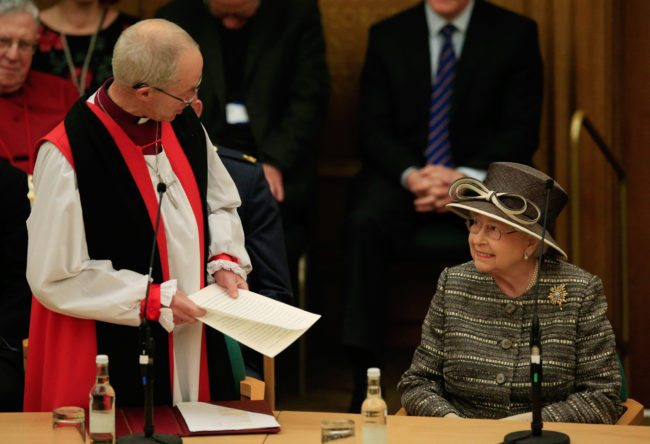 LONDON, ENGLAND - NOVEMBER 24:  The Archibishop of Canterbury the Most Reverend Justin Welby welcomes Queen Elizabeth II to the Tenth General Synod at Church House on November 24, 2015 in London, England.  (Photo by Jonathan Brady - WPA Pool /Getty Images)