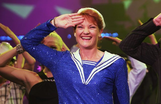 "SYDNEY, NSW - JUNE 09: Politician Pauline Hanson performs during a photo call to promote ""Todd McKenney Live"" at the Star City Showroom on June 09, 2005 in Sydney, Australia. (Photo by Patrick Riviere/Getty Images)"