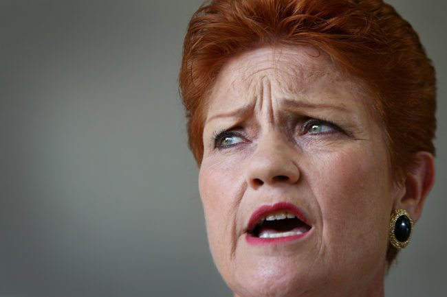 SUNSHINE COAST, AUSTRALIA - DECEMBER 08:  Senator Pauline Hanson speaks with the media and local taxi owners at Suncoast Cabs head office on December 8, 2016 in Sunshine Coast, Australia. Senator Hanson met with representatives from the Queensland taxi industry to discuss their concerns such as ride-sharing app Uber, which taxi licensees say is putting the industry in decline. Uber and other ride-sharing services have been legal in Queensland since September 2016.  (Photo by Lisa Maree Williams/Getty Images)