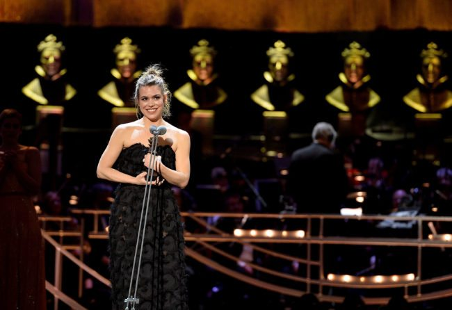 LONDON, ENGLAND - APRIL 09:  Billie Piper accepts the Best Actress award on stage during The Olivier Awards 2017 at Royal Albert Hall on April 9, 2017 in London, England.  (Photo by Jeff Spicer/Getty Images)