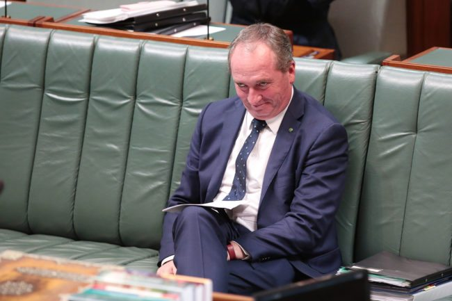 CANBERRA, AUSTRALIA - MAY 09:  Deputy Prime Minister Barnaby Joyce during question time in the House of Representatives at Parliament House on May 9, 2017 in Canberra, Australia. The Government will identify key areas including using pre-income tax to assist first home buyers, details on the Western Sydney Airport and funding to assist with schools.  (Photo by Stefan Postles/Getty Images)