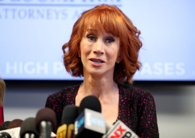 Kathy Griffin and her attorney Lisa Bloom speak during a press conference at The Bloom Firm on June 2, 2017 in Woodland Hills, California. Griffin is holding the press conference after a controversial photoshoot where she was holding a bloodied mask depicting President Donald Trump and to address alleged bullying by the Trump family.