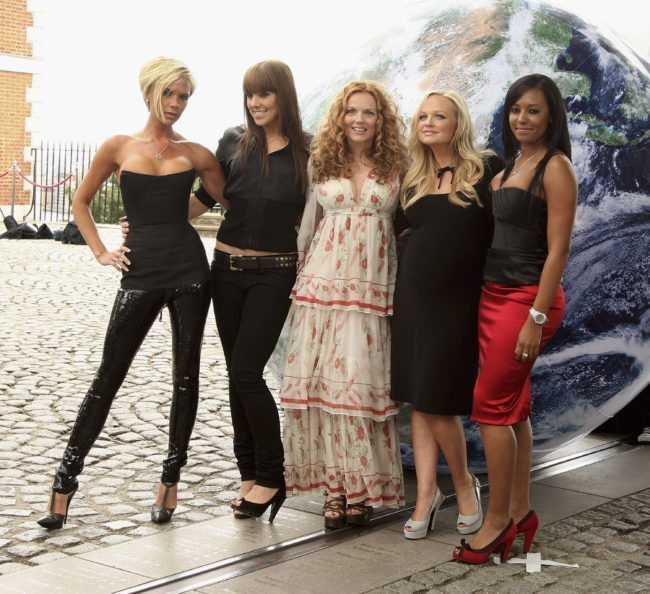 LONDON - JUNE 28:  Spice Girls (L-R) Victoria Beckham, Melanie Chisholm (Mel C), Geri Halliwell, Emma Bunton and Melanie Brown (Mel B) pose for a photocall at the Royal Observatory, Greenwich ahead of their news conference later today on June 28, 2007 in London, England.  (Photo by Getty Images)