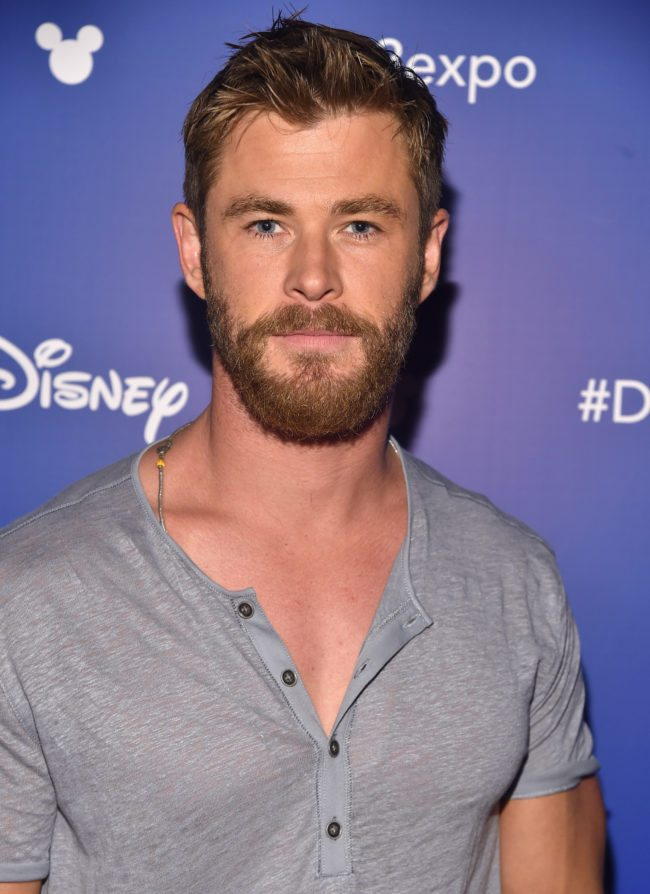 ANAHEIM, CA - JULY 15:  Actor Chris Hemsworth of AVENGERS: INFINITY WAR took part today in the Walt Disney Studios live action presentation at Disney's D23 EXPO 2017 in Anaheim, Calif. AVENGERS: INFINITY WAR will be released in U.S. theaters on May 4, 2018.  (Photo by Alberto E. Rodriguez/Getty Images for Disney)