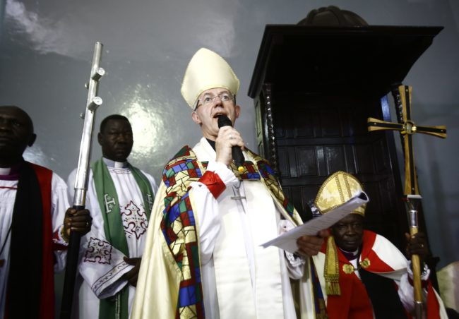 Archbishop of Canterbury, Justin Welby, speaks during a ceremony in Khartoum's All Saints Cathedral on July 30, 2017.  Welby declared Sudan as the 39th province of the worldwide Anglican Communion and installed Ezekiel Kondo Kumir Kuku as the country's first archbishop and primate during the ceremony which was attended by American, European and Afrian diplomats, and hundreds of worshippers. / AFP PHOTO / ASHRAF SHAZLY        (Photo credit should read ASHRAF SHAZLY/AFP/Getty Images)