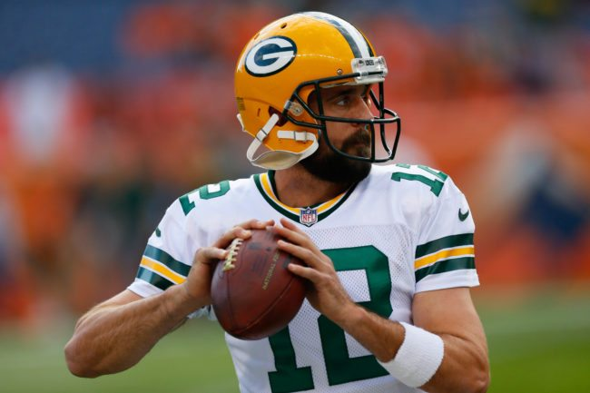 DENVER, CO - AUGUST 26: Quarterback Aaron Rodgers #12 of the Green Bay Packers warms up before a Preseason game against the Denver Broncos at Sports Authority Field at Mile High on August 26, 2017 in Denver, Colorado. (Photo by Justin Edmonds/Getty Images)
