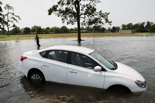 Flooding in Texas sinks a car