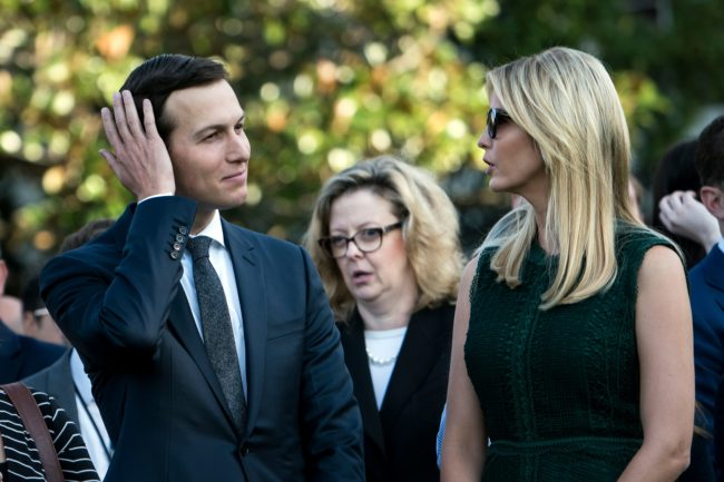 Senior Advisor Jared Kushner and Ivanka Trump wait on the South Lawn of the White House during a memorial service for the 9/11 terrorist attacks September 11, 2017 in Washington, DC. / AFP PHOTO / Brendan Smialowski (Photo credit should read BRENDAN SMIALOWSKI/AFP/Getty Images)