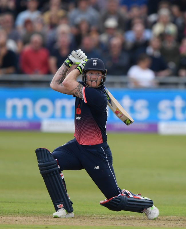 BRISTOL, ENGLAND - SEPTEMBER 24:  England batsman Ben Stokes hits out during the 3rd Royal London One Day International between England and West Indies at The Brightside Ground on September 24, 2017 in Bristol, England.  (Photo by Stu Forster/Getty Images)