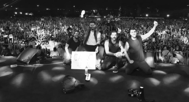 A picture taken of the band on the night of the gig (Photo by مشروع ليلى Mashrou' Leila/Facebook)