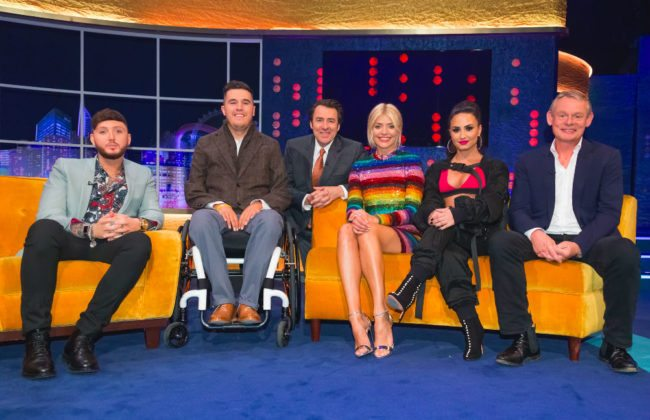 onathan Ross with James Arthur, Holly Willoughby, Martin Clunes and Henry Fraser (ITV)
