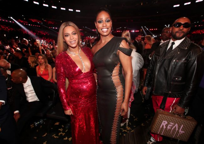Beyonce and Laverne Cox at the 2017 GRAMMY Awards