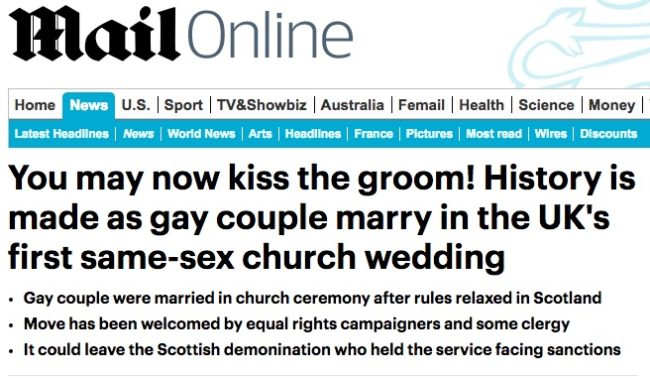 mail online gay wdding