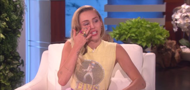 miley cyrus on ellen (YouTube TheEllenShow)