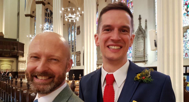 The couple married at a branch of the Scottish Episcopal church